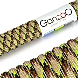 Paracord 550 Seil Neon-Camouflage | 31 Meter Nylon-Seil mit 7 Kern-Stränge | für Armband | Knüpfen von Hunde-Leine oder Hunde-Halsband zum selber machen | Seil mit 4mm Stärke | Mehrzweck-Seil | Survival-Seil | Parachute Cord belastbar bis 250kg (550lbs) braun, hellgrün, schwarz - Marke Ganzoo