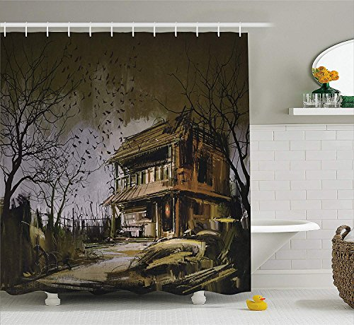 JIEKEIO Rustic Home Decor Shower Curtain, Old Haunted Abandoned Wood House at Dark Night with Bats Scary Horror Paint, Fabric Bathroom Decor Set with Hooks, 60 * 72inchs Long, Multi