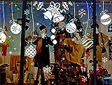EVERY Christbaumkugeln Fenstersticker Weihnachten Aufkleber Stickers für Glastür Festival Abziehbild Dekoration Wandsticker Weihnachtsbaums Hirsch Weihnachtsmann Schneemann Entfernbare Fenster Schaufenster DIY