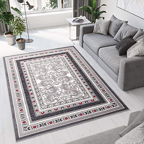 Tapiso Designer Teppich Wohnzimmer Teppich SCHÖN Muster IN ROT GRAU Hellgrau (80x150 cm)