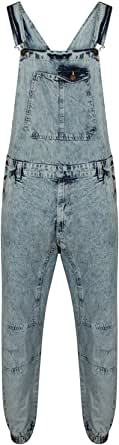 True Face Mens Denim Sleeveless John Dungarees Overalls Bib Zip Fly Regular fit Trousers Work 100% Cotton Machine Washable Multi Pockets Top and Bottoms