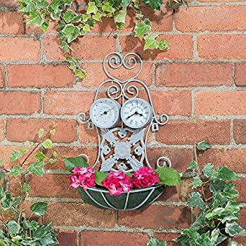 New 3-in-1 Planter with Thermometer /& Clock An essential addiiton to your garden Grey