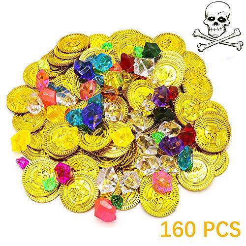 Ucradle Piraten Goldmünzen und Piraten Edelsteine Set, 160 Stück Piratenschatz Kindergeburtstag Spielzeugs für Party Favor Piratenparty Mitgebsel (80pcs Pirat Münzen + 80pcs Piraten Strasssteine)