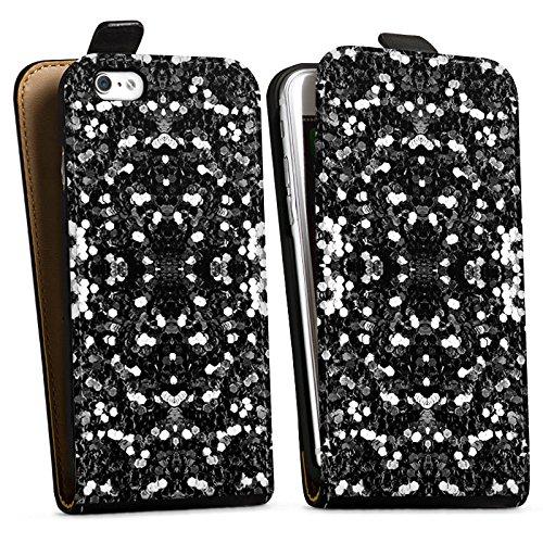 Apple iPhone X Silikon Hülle Case Schutzhülle Glitzer Silber Muster Downflip Tasche schwarz