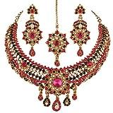 I joyas para mujer Elegantly juego de piedra hecha a mano con collar con colgante en forma Maang Tikka y Juego de pendientes de multi-color