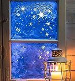 ilka parey wandtattoo-welt® Fensterbild Fensteraufkleber Weihnachten selbstklebend Fensterdeko Weihnachtsdeko Sterne Schneeflocken weiß M1244