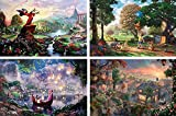 THOMAS KINKADE FANTASIA LADY & THE TRAMP WINNIE THE POOH TANGLED DISNEY DREAMS COLLECTION 4 IN 1 PUZZLE SET 500 pieces