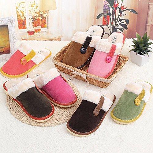 FEITONG Herren Damen Weich Warm Indoor Cotton Hausschuhe Home Rutschfeste Schuhe Rosa(Damen)