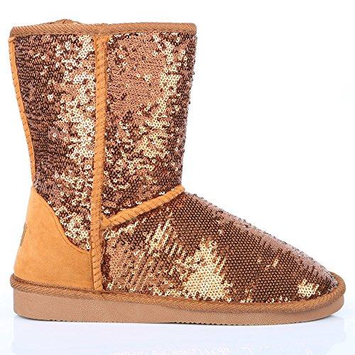 Ideal Shoes-Scarpette con lustrini Melyssa Marrone (Bronzo)