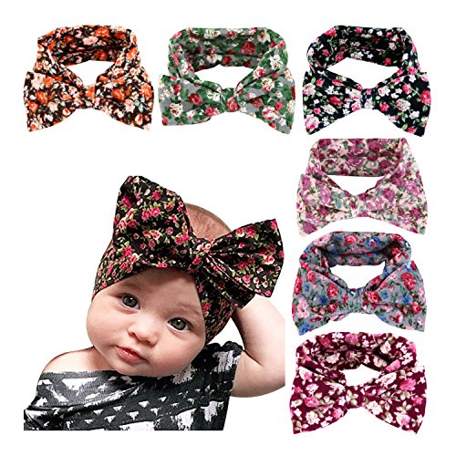 CHIC-CHIC 6PCS Baby Girls Kids Elastic Flower Bow Headband Hair Bows Photography Props Hairband