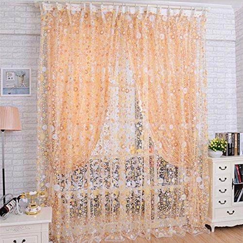 DOLDOA Imprimir Floral Voile puerta Sheer cortinas de la ventana Cortina de...