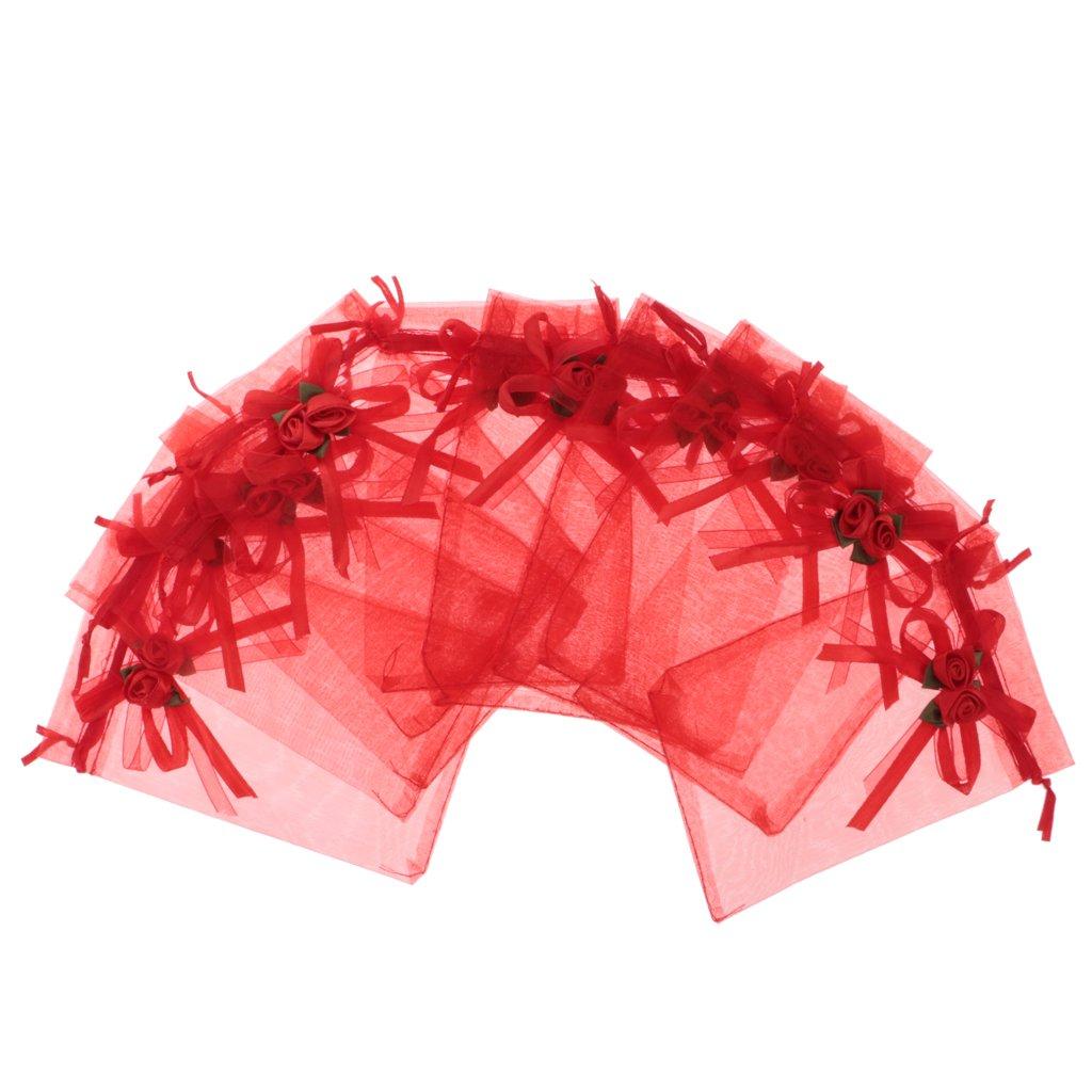 Sharplace Sacchetti Portabile Organza Ficco Fiore Foglie Unica Tinta Trasparente Gioielli Anelli Mul