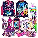 My Little Pony Pferd Einhorn 15 Teile Schulranzen RANZEN FEDERMAPPE FEDERTASCHE SCHULTÜTE 85 cm Tasche Set inkl. Sticker von Kids4shop