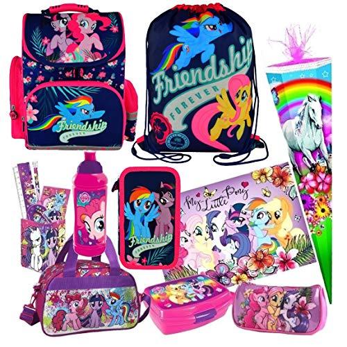 (My Little Pony Pferd Einhorn 15 Teile Schulranzen RANZEN FEDERMAPPE FEDERTASCHE SCHULTÜTE 85 cm Tasche Set inkl. Sticker von Kids4shop)