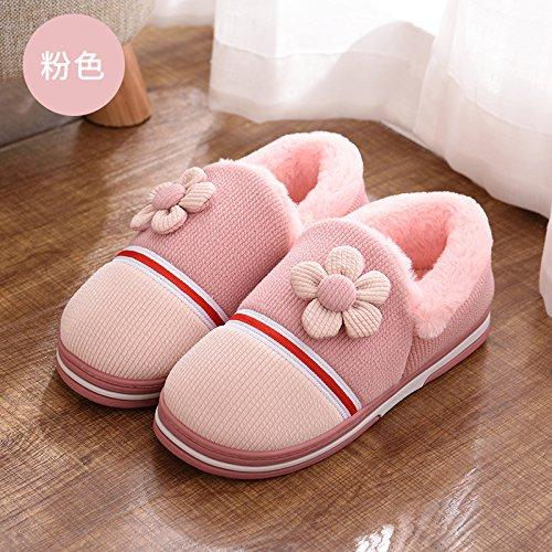 DogHaccd pantofole,Nella caduta di cotone pantofole inverno uomini e donne caldo inverno peluche spesse pantofole home soggiorno pacchetto coppie con le scarpe Rosa1