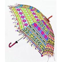 ganesham Handicraft- indio decorativo hecho a mano decorativo algodón espejo trabajo bordado, protección UV paraguas, sombrilla, sombrilla de Boho Bohemio indio boda paraguas sombrilla, playa paraguas