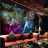 Meaosy 3D Wallpaper for Walls 3D Nightclubs Ktv Decorative Wall Paper Background Painting Mural Wallpapers Beautiful Pink Love Tree-120X100Cm
