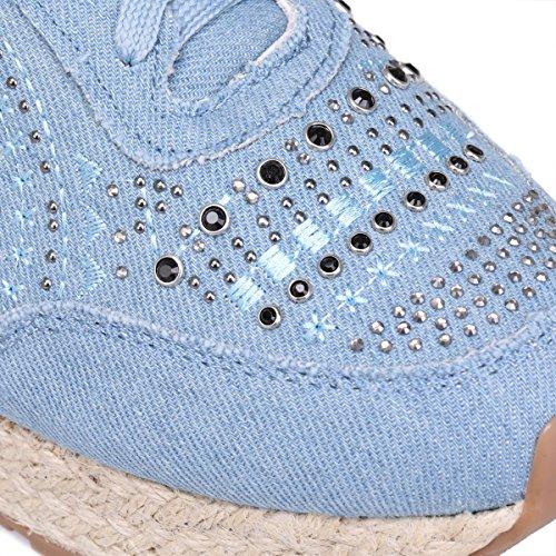 La Modeuse Baskets à Plateforme à LAspect Corde Bleu