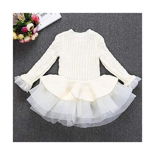 POLP Niñas Vestidos de Suéter de Punto con Manga Volante Pullover Jerseys de Invierno Tutu Suéter para Niñas Falda… 2