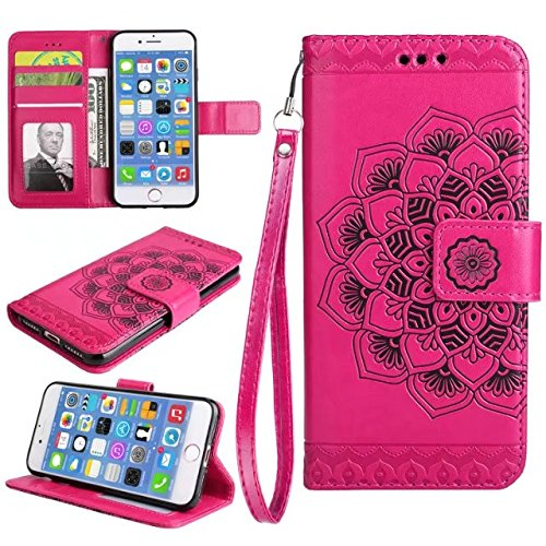 GR iPhone 7-Bright Niedliche Blumen Blume geprägte Muster Ledertasche horizontale Folio Flip Stand Case Brieftasche Pouch Cover Case mit Lanyard und Kreditkarte Cash Slots ( Color : Purple ) Red
