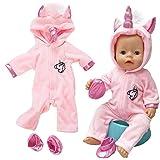 Amycute 43 cm la Ropa de la Muñeca del Traje del Unicornio con los Zapatos para Las Muñecas del Bebé Recién Nacido Girl Doll