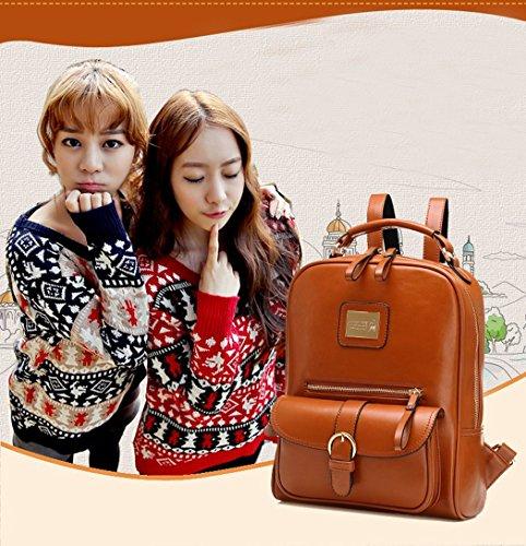 Damen Frauen Fashion Vintage Modisch Casual Vintage Haltbare Taschen Mori Mädchen Rucksack Leder (bräunen) Braun