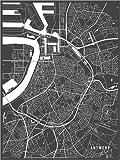 Poster 90 x 120 cm: Antwerpen Belgien Karte von Main Street