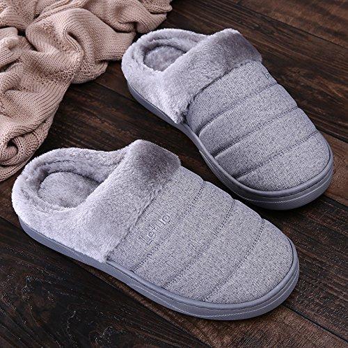Y-Hui inverno pantofole di cotone impermeabile, giovane, fondo spesso, Indoor Borsa vivente e antiscivolo fondo morbido pantofole, Uomo Inverno gray