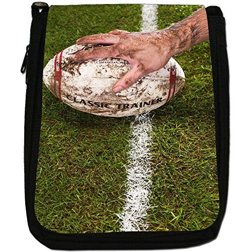 Kit di palla da rugby Coppa del Mondo di squadra Medium Nero Borsa In Tela, taglia M Muddy Rugby Ball On Pitch