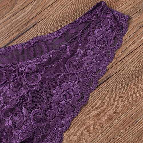 Freebily Herren Spitze Slips Strings Lila Lace Badehose Reizwäsche Erotik Dessous Unterhose Briefs Männer Unterwäsche M-XL Violett