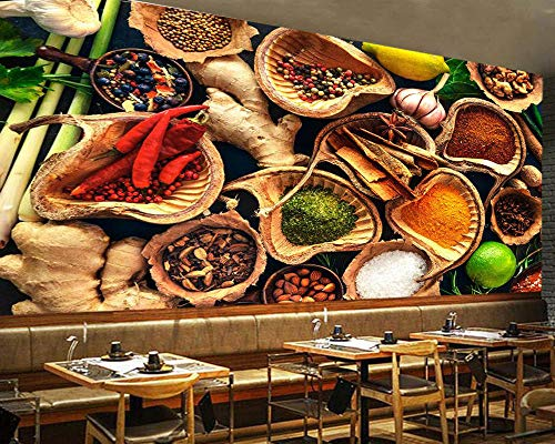 SKTYEE r Verschiedene Kräuter und Gewürze Essen 3d Wallpaper, Wohnzimmer Küche Tapeten Wohnkultur Restaurant Bar Wandbild, 430x300 cm (169.3 by 118.1 in) -