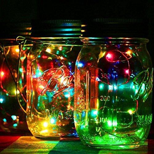 Solar Mason Jar Lichter LEDMOMO Gläser Deckel Licht für Outdoor Garten Baum Party Weihnachtsdekoration (grünes Licht) - Licht Grüne Bäume