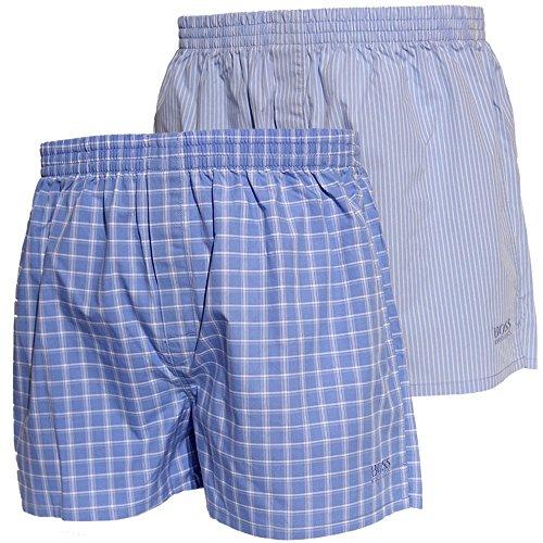 2er Pack Hugo Boss NEU Webboxer Boxer Shorts XL Farbe 468 blau weiss (Weiße Boxer Shorts Kariert)