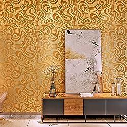 HANMERO® 3D diseño papel pintado moderno con dibujos de rayas curvas no tejido papel de pared pintado, color dorado,0.7M*8.4