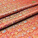 YM YOUMU Satin-Stoff für Kleidungsstücke Chinesischer Seidig Cockscomb-Brokat, 90 x 100 cm (Rot)