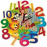 Hess 30011Reloj de pared infantil, animales de la selva, de madera, diámetro aprox. 21cm