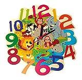 Hess Holzspielzeug 30011 Kinderwanduhr - Dschungel-tiere aus Holz, ca. 21 cm,bunt