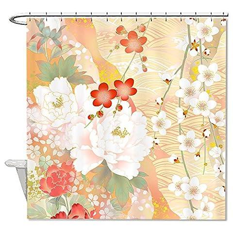 Warrantyll Multicolore Fleurs de cerisier de bain d'eau Rideau de douche imperméable Polyester 182,9x 182,9cm