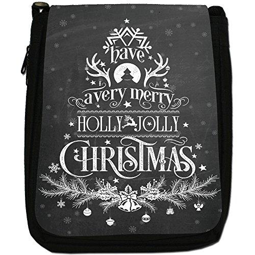 Nero con scritta Natale in stile Vintage, con tracolla, in tela, colore: nero, taglia: M Have A Very Merry Holly Xmas