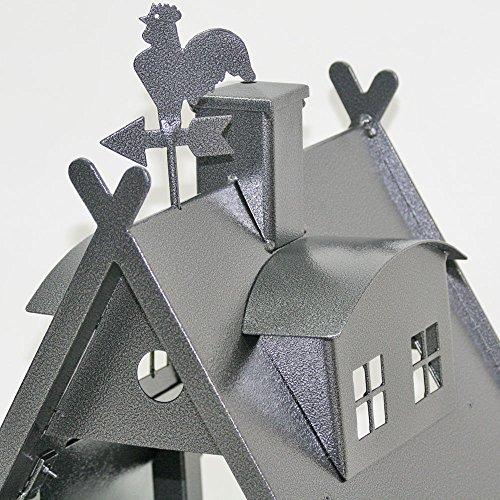 Vogelhaus XXL mit Ständer aus Metall (Farbe: silber-antik) - 3