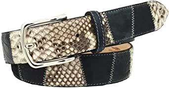 ESPERANTO Cintura uomo donna in Pitone, Coccodrillo e scamosciato, colore Blu, fodera vera pelle di cuoio nabuck-4 cm con fibbia nichel free anallergica, taglia regolabile