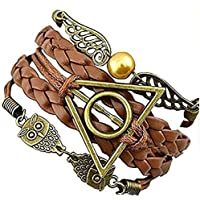Bracciali Harry Potter con simboli Golden Snitch & Death Hallow e gufo/civetta - Cosplay - Modelli A scelta