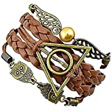 MARRONE - BRONZO BRACCIALE DELL'AMICIZIA HARRY POTTER SIMBOLO TRIANGOLO E CERCHIO CIVETTA E ALI IDEA REGALO UOMO DONNA