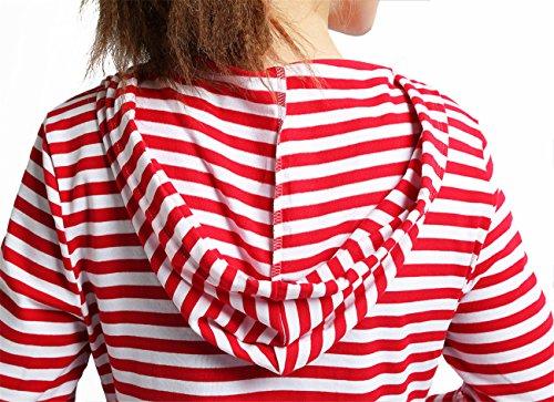 YL - Sweat-shirt - Femme Rayures Rouge