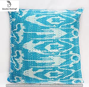 Indian Home D Cor Handmade Thread Embroidery Paisley Cotton Cushion Covers Block Printed Throw