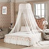 Vitutech Mosquitera de Dosel de la Cama de Encaje Elegante, Mosquitera para cama individual ligero Blanco Canopy Perfecta Para Mantener Todos Los Voladores Insectos