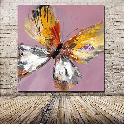 Ölgemälde Auf Leinwand Handgemalt,Abstrakte Malerei,Tier Grau Gelb Bunte Butterfly,Moderne,Europäische Professionelle Wand Dekor Kunst Ornament Für Eingang Wohnzimmer Schlafzimmer Küche Erwachsen