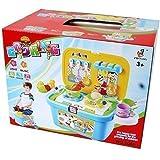 TE-Trend Kinderküche Mobile kompakte Spielküche Spielkiste Spielbox fahrbar Spielzeug Sound Lichteffekte 26-Teilig