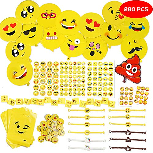 THE TWIDDLERS 288er Emoji Party Set für Kinder-Geburtstag – XXL Smiley Partyset & Deko Zubehör – Ideal als Gastgeschenk, Geburtstags-Mitbringsel & Party-Scherzartikel