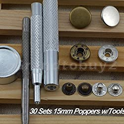 30 Completed Sets 15mm Silver & Antique Brass Snap Fasteners Poppers Sewing Clothing Jacket Jean Bag Shoes Buttons Studs Kit with Fixing Tool For Clothing and Accessories - Press Studs for Adding Secure Closure to Jackets, Jeans, Bags, Straps and Other Sewing Projects - Popper for Clothes Repair